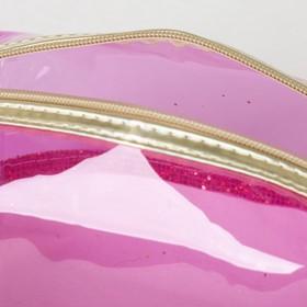 Косметичка ПВХ, отдел на молнии, с ручкой, цвет золото/розовый - фото 1770278