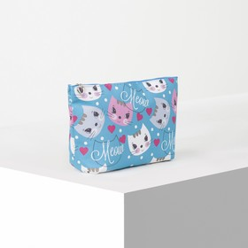 Cosmetic bag simple Cat 22*7*13, otd zipper, green