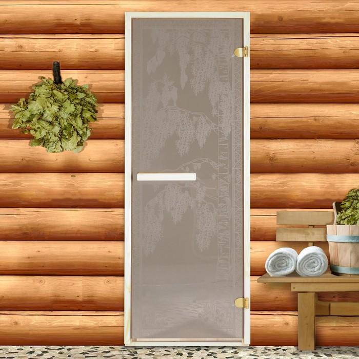 Дверь для бани и сауны 190×70 см, Берёзка, круглая ручка, левое открывание