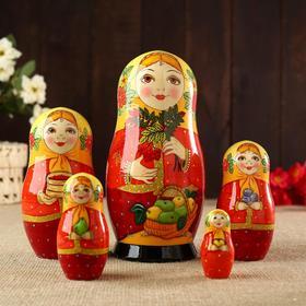 Матрёшка «Девушка с веткой рябины», 5 кукольная, 18х8 см, ручная роспись