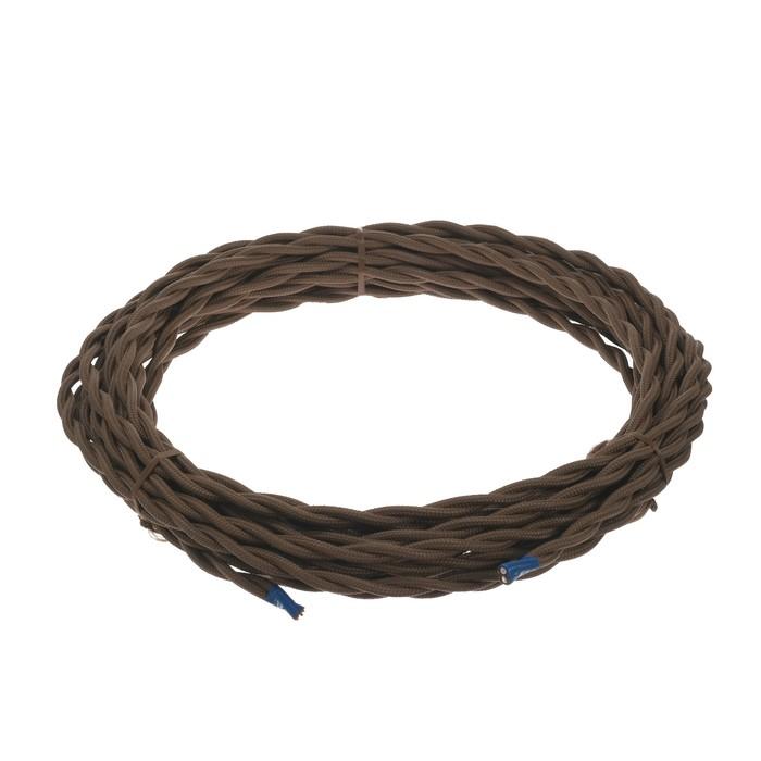 Ретро провод Luazon Lighting, 10 м, 2х1.5 мм2, цвет коричневый