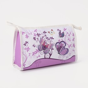 Cosmetic bag ^ Butterfly 21*5*14 the division zipper, white