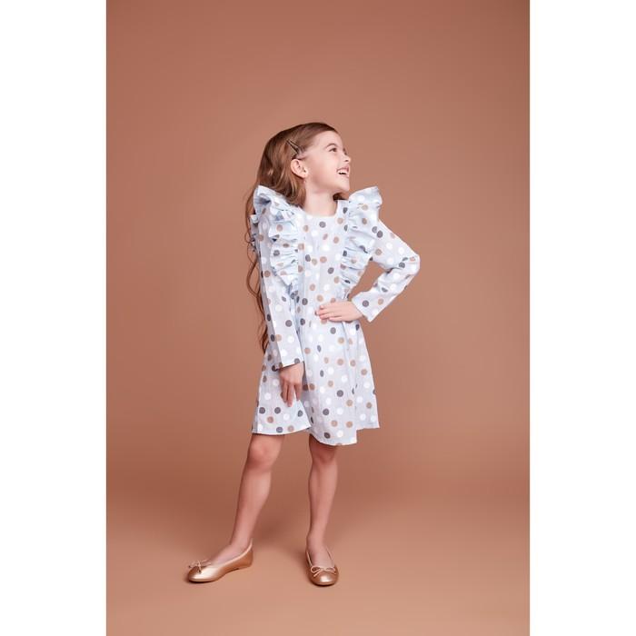 """Платье для девочки KAFTAN """"Горох"""" р.30 (98-104), голубой - фото 105697313"""