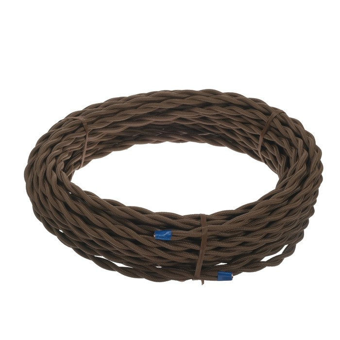 Ретро провод Luazon Lighting, 20 м, 2х2.5 мм2, цвет коричневый