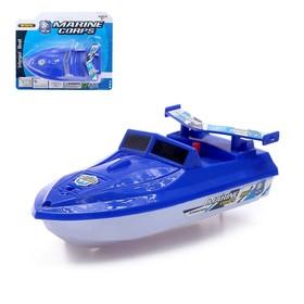 Катер «Морской патруль», работает от батареек, плавает, цвета МИКС