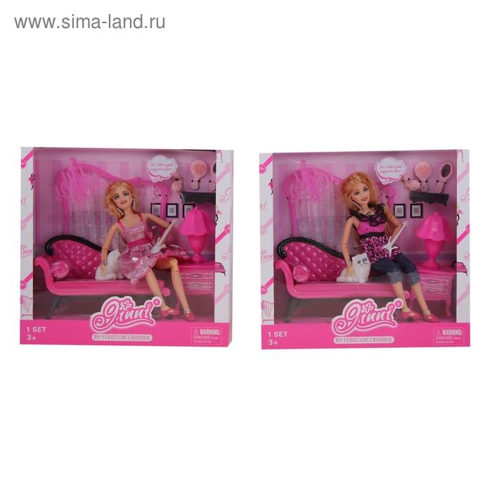 Кукла Джинни с кошкой и аксессуарами в кор.