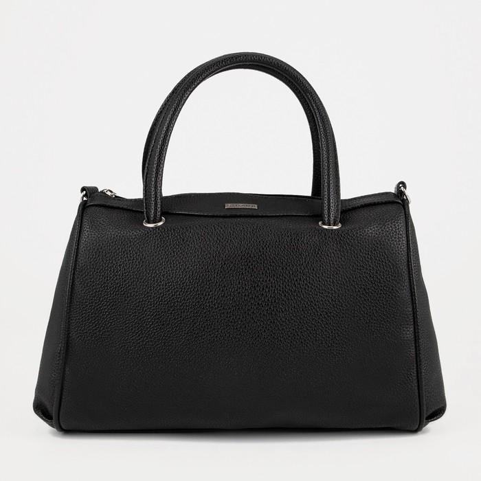Сумка женская, отдел на молнии, наружный карман, длинный ремень, цвет чёрный - фото 651987