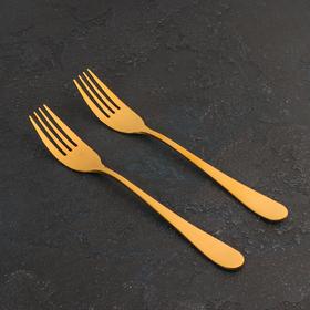 Набор вилок столовых, 2 шт, 20 см, цвет золотой