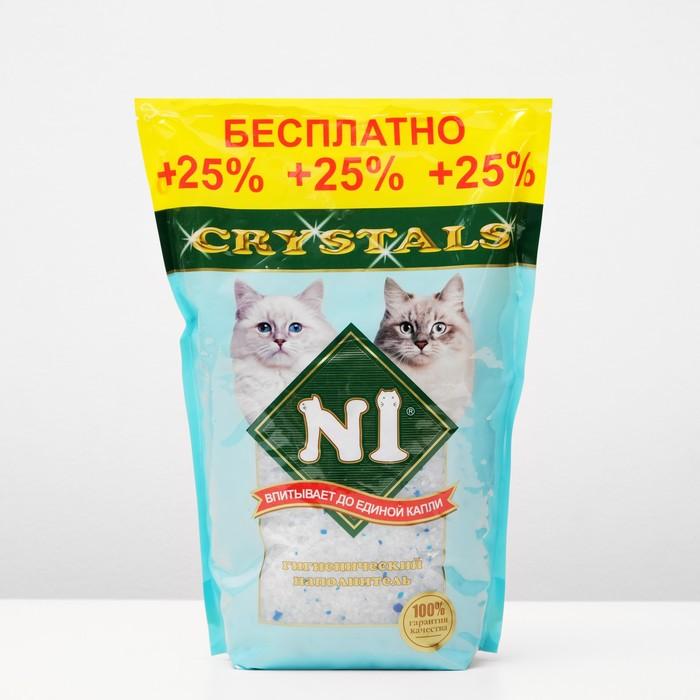 Наполнитель N1 Crystals Силикагель 3,9 л NEW + 25% бесплатно