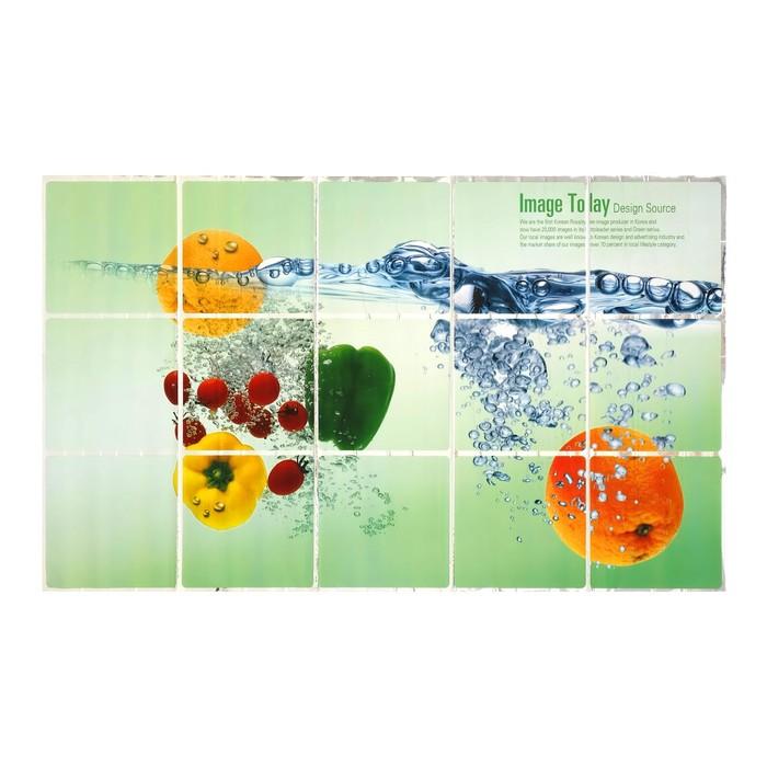 """Наклейка на кафельную плитку """"Овощи и фрукты в воде"""" 75х45 см"""