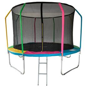 Батут 12 ft, d=366 см, фиберглас, с внутренней защитной сеткой и лестницей, разноцветный