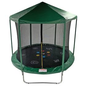 Батут HOME 6 ft, d=183 см, с принтом, с внутренней защитной сеткой и крышей, зелёный