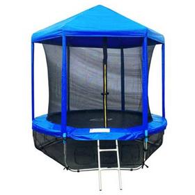 Батут 6 ft, d=183 см, с внутренней защитной сеткой, крышей и лестницей + нижняя сеть, синий