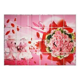 Наклейка на кафельную плитку 'Букет роз и мишки' 90х60 см Ош