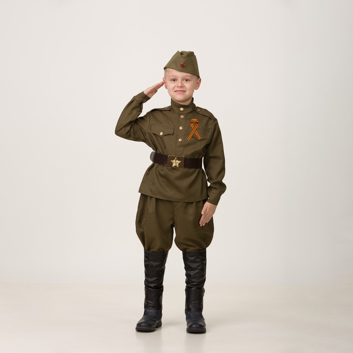 Карнавальный костюм «Солдат», сорочка, брюки галифе, головной убор, р. 28, рост 110 см