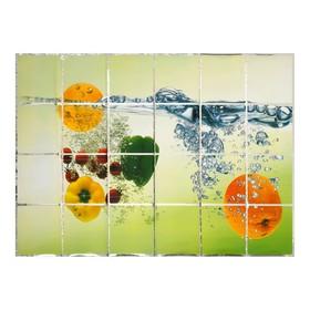 Наклейка на кафельную плитку 'Овощи и фрукты в воде' 90х60 см Ош