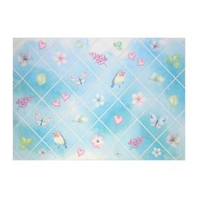 Наклейка на кафельную плитку 'Птицы, бабочки, цветы и любовь' 60х90 см Ош