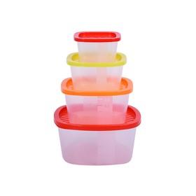 Набор пластиковых контейнеров Oursson, 230/500/900/1550 мл, 4 шт
