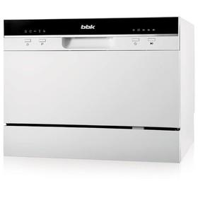 Посудомоечная машина BBK 55-DW011, класс А, 6 комплектов, расход 6.5 л, 55 см, белая