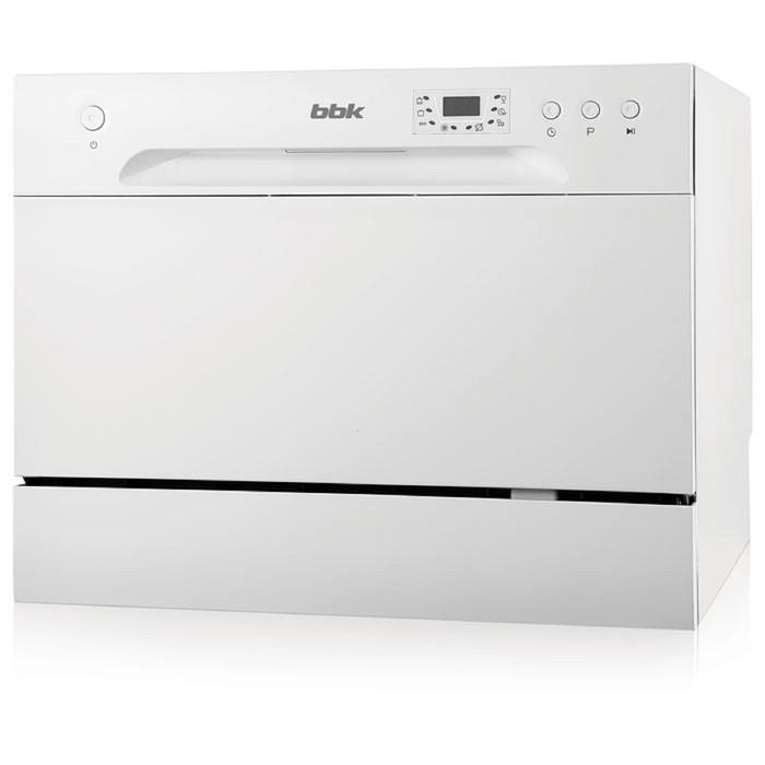 Посудомоечная машина BBK 55-DW012D класс А, 6 комплектов, 6.5 л, 55 см, дисплей, белая