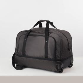 Bag road on wheels 357, 57 * 32 * 48, separate with a zipper, n / pocket, belt length, khaki