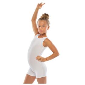 Комбинезон гимнастический укороченный х/б без рукавов, цвет белый, размер 38