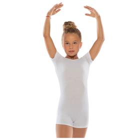 Комбинезон гимнастический укороченный х/б с короткими рукавами, цвет белый, размер 34