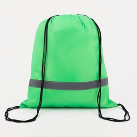 Мешок для обуви, отдел на шнурке, светоотражающая полоса, цвет зелёный