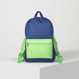 Рюкзак молодёжный, отдел на молнии, наружный карман, цвет синий/зелёный