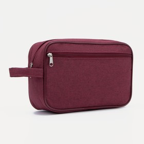 Косметичка дорожная, отдел на молнии, наружный карман, цвет бордовый