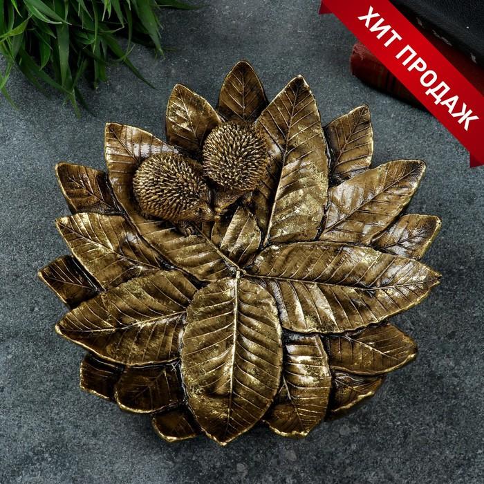 """Подставка для мелочей """"Пара ежей на тарелке из листьев"""" золото 24,5х24,5х6,5см"""