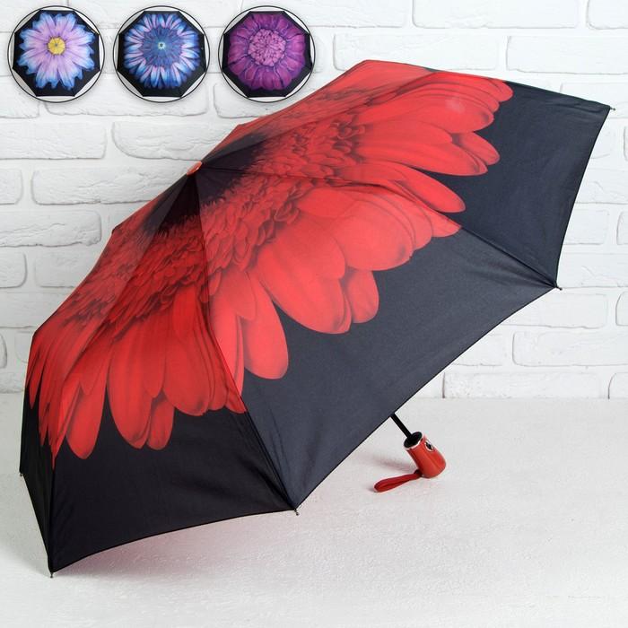 Зонт полуавтоматический «Цветы», 3 сложения, 8 спиц, R = 48 см, цвет МИКС