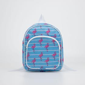 4807 p-210 / d Children's backpack, 24 * 12 * 30, separate with a zipper, n / pocket, blue flamingo