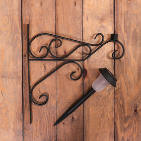 Bracket for planters wrought with lamp, 50 cm, metal, black, pattern