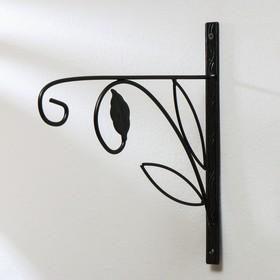 Bracket for planter forged, 30 cm, metal, black, flower