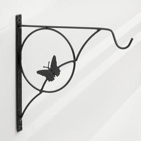 Bracket for planter forged, 30 cm, metal, black, butterfly