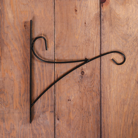 Bracket for planter forged, 30 cm, metal, black, bend