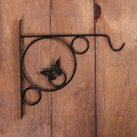 Bracket for planter forged, 30 cm, metal, black, butterfly in the ring