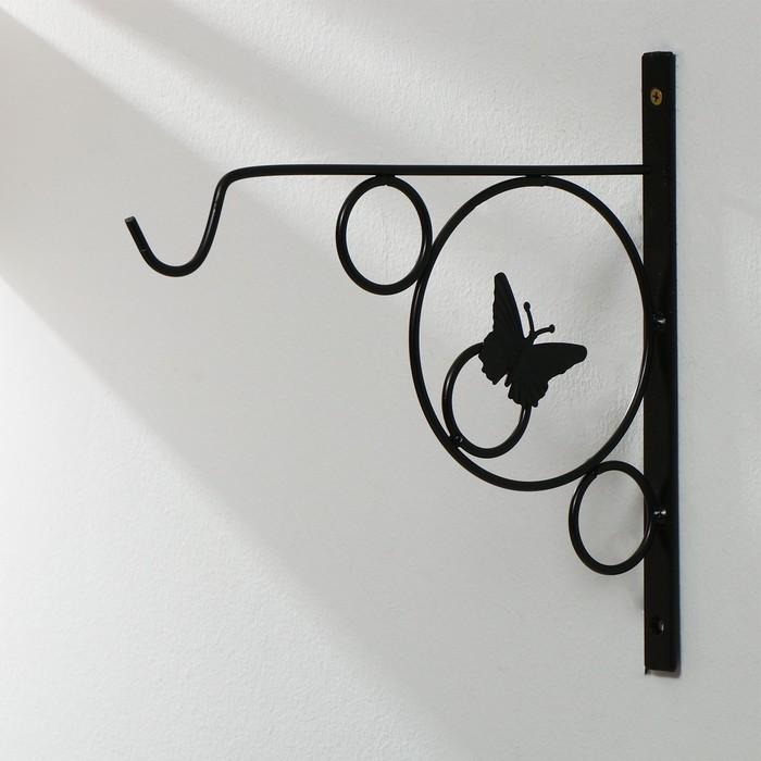 Кронштейн для кашпо, кованный, 30 см, металл, чёрный, «Бабочка в кольце»