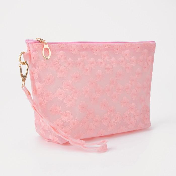 Косметичка ПВХ, отдел на молнии, с ручкой, цвет матовый розовый - фото 1770359