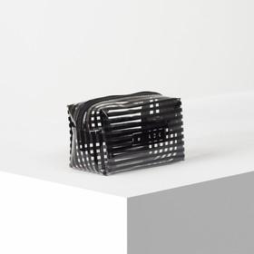 Cosmetic bag PVC gloss BLACK 17*9*10 Department zipper. black