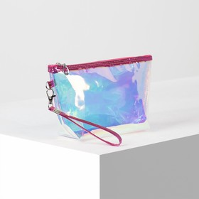 PVC cosmetic bag mother of Pearl, 22*6*14, otd zipper with handle, raspberry
