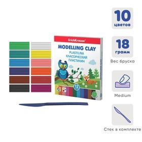 Пластилин 12 цветов, 216 г, ErichKrause, улучшенная формула, в картонной упаковке