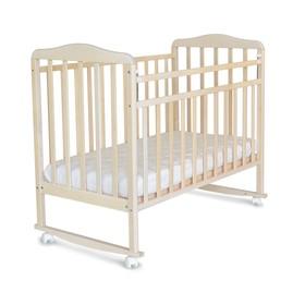 Кровать детская Митенька (опуск.планка ,колеса, качалка, береза снежная)