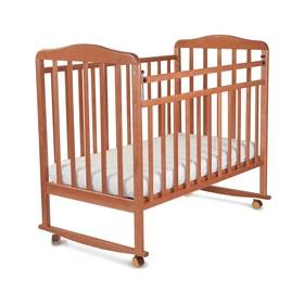 Кровать детская Митенька (опуск.планка ,колеса, качалка, орех)