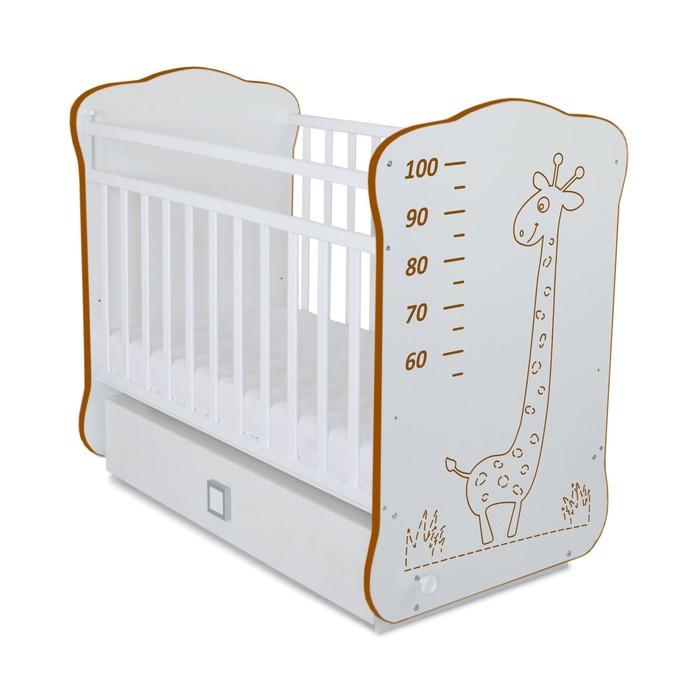 Кровать детская СКВ-4 с маятником и ящиком,опуск.планка,рисунок коричневый Жираф, белый