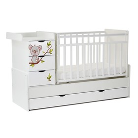 Кровать детская СКВ-5 Коала фотопечать, опуск.бок.,маятник,4 ящика,белый