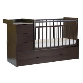 Кровать детская СКВ-5 Бабочки, опуск.бок.,маятник,4 ящика,венге+древесный венге