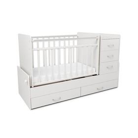 Кровать детская СКВ-5, опуск.бок.,маятник,5 ящиков,белый