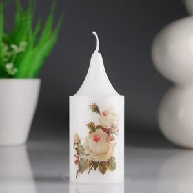 """Свеча- цилиндр """"Кремовая роза"""" белая, с декором, 4×10 см"""